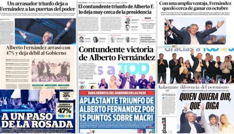 El triunfo del Alberto Fernández arrasó en las tapas de los diarios argentinos