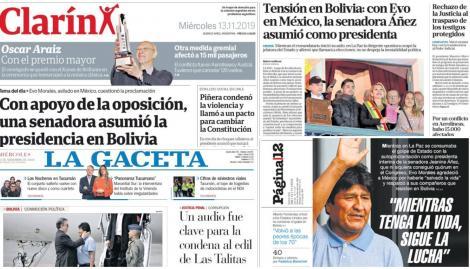 La asunción de Jeanine Añez y el conflicto en Chile, coparon las tapas de los diarios argentinos