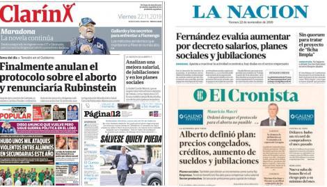 El plan de Alberto Fernández sobre salarios y jubilaciones, en las tapas de los diarios argentinos