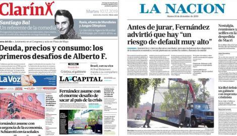 Alberto Fernández asume y copa las tapas de los diarios argentinos