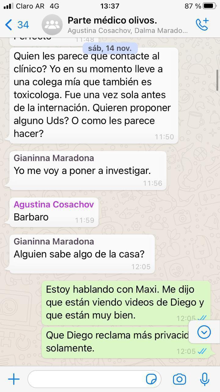 Diego Maradona | Se conocieron los chats del grupo de WhatsApp entre la familia y los médicos