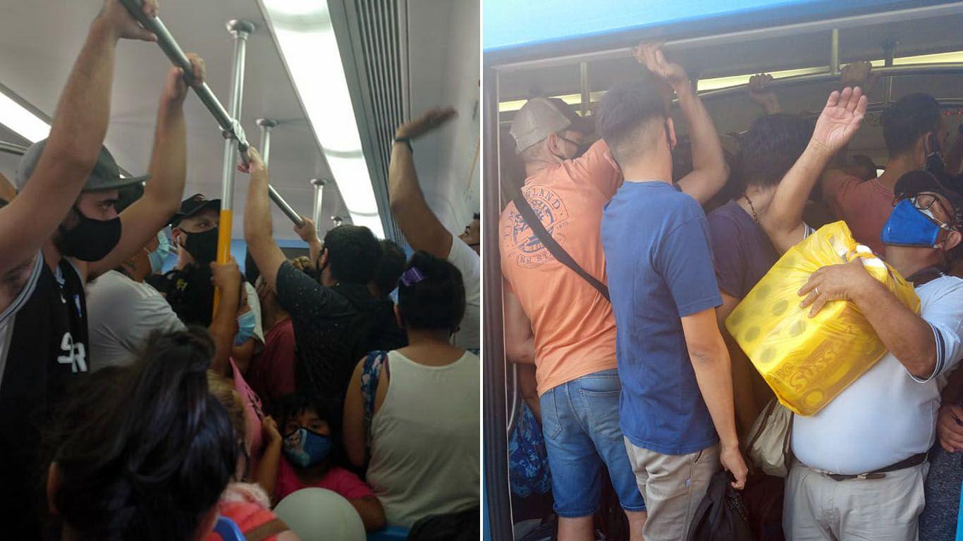 los-pasajeros-viajan-colgados-en-el-tren-sarmiento-pese-al-refuerzo-de-los-controles